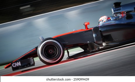 BARCELONA - FEBRUARY 19: Jenson Button of McLaren Honda F1 team at Formula One Test Days at Catalunya circuit on February 19, 2015 in Barcelona, Spain.