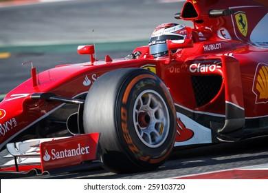 BARCELONA - FEBRUARY 19: Kimi Raikkonen of Scuderia Ferrari F1 team at Formula One Test Days at Catalunya circuit on February 19, 2015 in Barcelona, Spain.