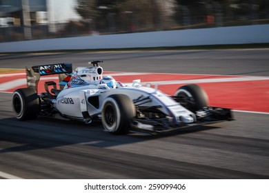 BARCELONA - FEBRUARY 19: Susie Wolff of Williams Martini Racing F1 team at Formula One Test Days at Catalunya circuit on February 19, 2015 in Barcelona, Spain.