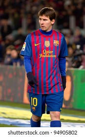 BARCELONA - FEBRUARY 2: Leo Messi in action during the Spanish Cup match between FC Barcelona and Valencia CF, final score 2-0, on February 2, 2012, in Camp Nou stadium, Barcelona, Spain.