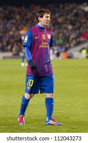 BARCELONA - FEBRUARY 2: Lionel Messi in action during the Spanish Cup match between FC Barcelona and Valencia CF, final score 2-0, on February 2, 2012, in Camp Nou stadium, Barcelona, Spain.