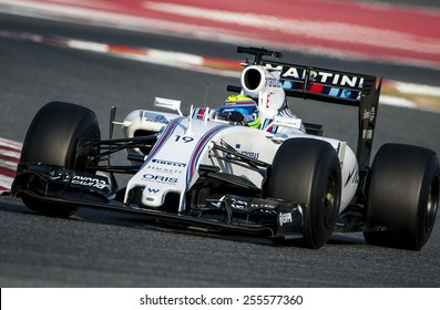 BARCELONA - FEBRUARY 20: Felipe Massa of Williams at second day of Formula One Test Days at Catalunya Circuit on February 20, 2015 in Barcelona, Spain.