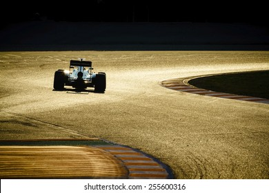 BARCELONA - FEBRUARY 20: Formula One car on race track at Formula One Test Days at Catalunya circuit on February 20, 2015 in Barcelona, Spain.