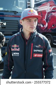 BARCELONA - FEBRUARY 20: Max Verstappen of Toro Rosso at second day of Formula One Test Days at Catalunya Circuit on February 20, 2015 in Barcelona, Spain.