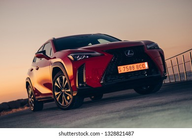BARCELONA, FEBRUARY 2018 - New Lexus UX compact sized hybrid crossover is displayed for editorial purposes