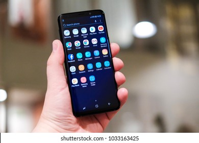 BARCELONA, FEBRUARY 2018 - Newely launched Samsung Galaxy S9 smartphone is displayed for editorial purposes.