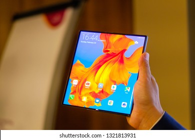BARCELONA, FEBRUARY 2019 - recently announced Huawei Mate X smartphone with folding screen is displayed for press for editorial purposes