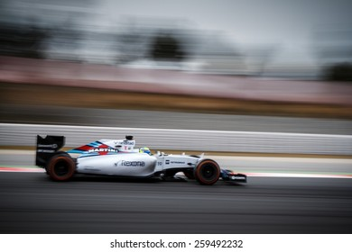 BARCELONA - FEBRUARY 21: Felipe Massa of Williams Martini Racing F1 team at Formula One Test Days at Catalunya circuit on February 21, 2015 in Barcelona, Spain.