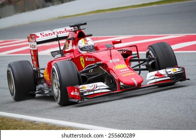 BARCELONA - FEBRUARY 21: Sebastian Vettel of Scuderia Ferrari F1 Team at Formula One Test Days at Catalunya circuit on February 21, 2015 in Barcelona, Spain.