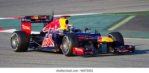 BARCELONA - FEBRUARY 21: Sebastian Vettel of Red Bull F1 team racing during Formula One Teams Test Days at Catalunya circuit on February 21, 2012 in Barcelona, Spain.