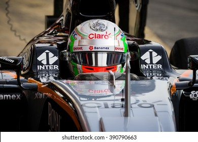 BARCELONA - FEBRUARY 22: Alfonso Celis of Force India F1 Team at Formula One Test Days at Catalunya circuit on February 22, 2016 in Barcelona, Spain.