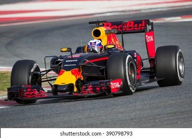 BARCELONA - FEBRUARY 22: Daniel Ricciardo of Red Bull Racing F1 Team at Formula One Test Days at Catalunya circuit on February 22, 2016 in Barcelona, Spain.