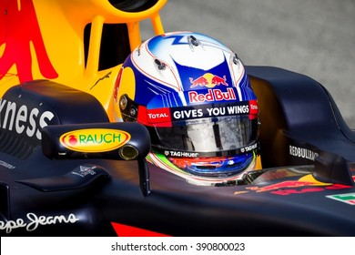 BARCELONA - FEBRUARY 22: Daniel Ricciardo of Red Bull Racing F1 Team at Formula One Test Days at Catalunya circuit on February 22, 2016 in Barcelona, Spain.
