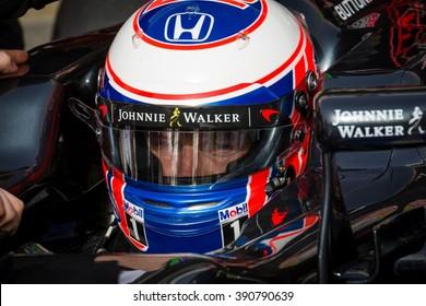 BARCELONA - FEBRUARY 22: Jenson Button of McLaren-Honda F1 Team at Formula One Test Days at Catalunya circuit on February 22, 2016 in Barcelona, Spain.