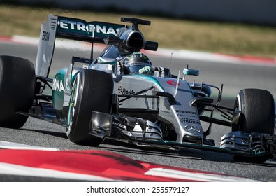 BARCELONA - FEBRUARY 22: Nico Rosberg of Mercedes at fourth day of Formula One Test Days at Catalunya Circuit on February 22, 2015 in Barcelona, Spain.
