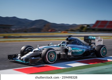 BARCELONA - FEBRUARY 22: Nico Rosberg of Mercedes AMG Petronas F1 team at Formula One Test Days at Catalunya circuit on February 22, 2015 in Barcelona, Spain.