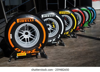 BARCELONA - FEBRUARY 22: The range of Pirelli P Zero tyres at Formula One Test Days at Catalunya circuit on February 22, 2015 in Barcelona, Spain.