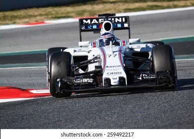 BARCELONA - FEBRUARY 22: Valtteri Bottas of Williams Martini Racing F1 team at Formula One Test Days at Catalunya circuit on February 22, 2015 in Barcelona, Spain.