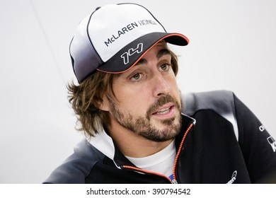 BARCELONA - FEBRUARY 23: Fernando Alonso of McLaren-Honda F1 Team at Formula One Test Days at Catalunya circuit on February 23, 2016 in Barcelona, Spain.