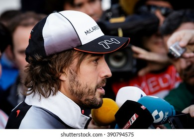 BARCELONA - FEBRUARY 23: Fernando Alonso of McLaren-Honda F1 Team talks to the media at Formula One Test Days at Catalunya circuit on February 23, 2016 in Barcelona, Spain.
