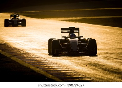 BARCELONA - FEBRUARY 23: Max Verstappen of Toro Rosso F1 Team leads Nico Rosberg of Mercedes AMG F1 Team at Formula One Test Days at Catalunya circuit on February 23, 2016 in Barcelona, Spain.