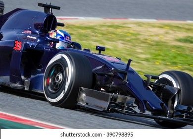 BARCELONA - FEBRUARY 23: Max Verstappen of Toro Rosso F1 Team at Formula One Test Days at Catalunya circuit on February 23, 2016 in Barcelona, Spain.