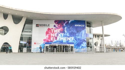 BARCELONA - FEBRUARY 23: outdoor entrance of Mobile World Congress 2017 on February 23, 2017, Barcelona, Spain.