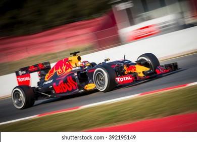 BARCELONA - FEBRUARY 24: Daniil Kvyat of Red Bull Racing F1 Team at Formula One Test Days at Catalunya circuit on February 24, 2016 in Barcelona, Spain.