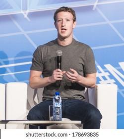 BARCELONA - FEBRUARY 24: Facebook CEO Mark Zuckerberg speaking at the Mobile World Congress on February 24, 2014, Barcelona, Spain.
