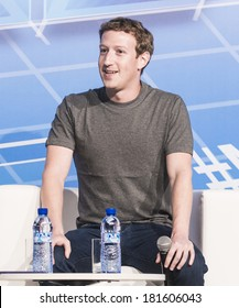 BARCELONA - FEBRUARY 24: Facebook CEO Mark Zuckerberg speaking at the Mobile World Congress on February 24, 2014, Barcelona, Spain.