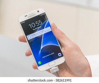 BARCELONA - FEBRUARY 24: the new Samsung Galaxy S7 on the stand of the Mobile World Congress 2016 on February 24, 2016, Barcelona, Spain.