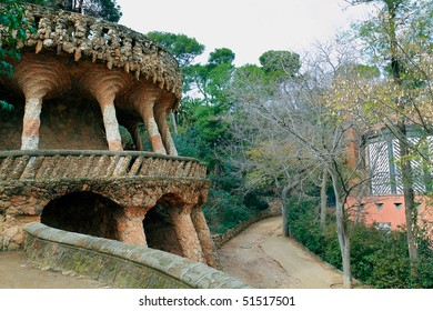 BARCELONA - FEBRUARY 24: Park Guell, a  garden with architectural elements designed by Antoni Gaudi. Built in 1900 - 1914. Part of UNESCO World Heritage,  February 24, 2010 in Barcelona Spain.