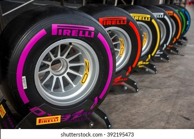 BARCELONA - FEBRUARY 24: Range of Pirelli tyres for 2016 Formula One season at Formula One Test Days at Catalunya circuit on February 24, 2016 in Barcelona, Spain.
