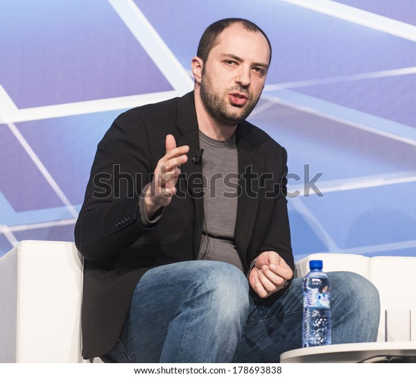 BARCELONA - FEBRUARY 24: WhatsApp CEO Jan Koum speaking at the Mobile World Congress on February 24, 2014, Barcelona, Spain.
