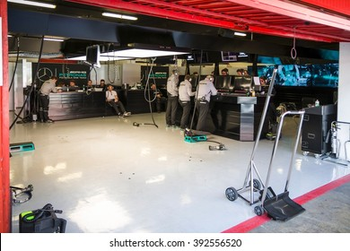 BARCELONA - FEBRUARY 25: Mercedes F1 Team garage at Formula One Test Days at Catalunya circuit on February 25, 2016 in Barcelona, Spain.