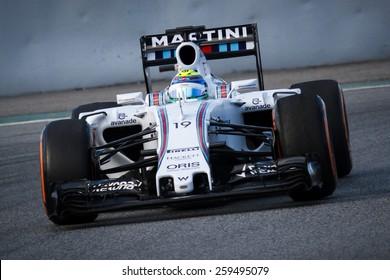 BARCELONA - FEBRUARY 26: Felipe Massa of Williams Martini Racing F1 team at Formula One Test Days at Catalunya circuit on February 26, 2015 in Barcelona, Spain.