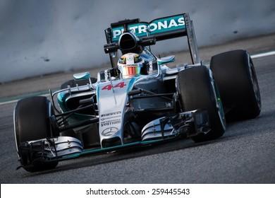 BARCELONA - FEBRUARY 26: Lewis Hamilton of Mercedes AMG Petronas F1 team at Formula One Test Days at Catalunya circuit on February 26, 2015 in Barcelona, Spain.