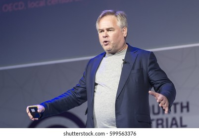 BARCELONA - FEBRUARY 27: Kaspersky Lab CEO Eugene Kaspersky speaking at the Mobile World Congress on February 27, 2017, Barcelona, Spain.