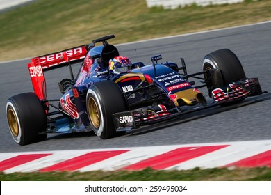BARCELONA - FEBRUARY 27: Max Verstappen of Scuderia Toro Rosso F1 team at Formula One Test Days at Catalunya circuit on February 27, 2015 in Barcelona, Spain.