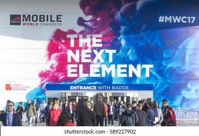 BARCELONA - FEBRUARY 27: outdoor entrance of Mobile World Congress 2017 on February 27, 2017, Barcelona, Spain.