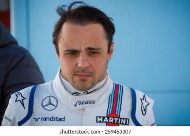 BARCELONA - FEBRUARY 28: Felipe Massa of Williams Martini Racing F1 team at Formula One Test Days at Catalunya circuit on February 28, 2015 in Barcelona, Spain.