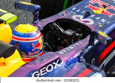 BARCELONA - FEBRUARY 28: Mark Webber of Infiniti Red Bull Racing F1 team in the cockpit at Formula One Test Days at Catalunya circuit on February 28, 2013 in Barcelona, Spain.