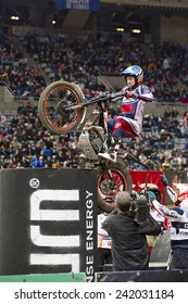 BARCELONA - FEBRUARY 9: James Dabill compete at Trial Indoor of Barcelona, on February 9, 2014, in Palau Sant Jordi stadium, Barcelona, Spain. Toni Bou was the winner.