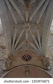 Barcelona Gothic Quarter architectural details over entrance