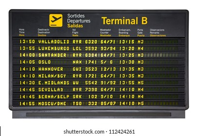 Barcelona international airport departures board  isolated on white