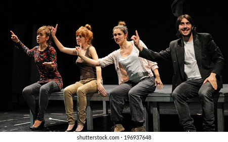 BARCELONA - JAN 13: Actors of the Barcelona Theater Institute, play in the comedy Shakespeare For Executives on January 13, 2013 in Barcelona, Spain.
