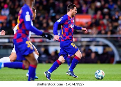 BARCELONA - JAN 19: Messi plays at the La Liga match between FC Barcelona and Granada CF at the Camp Nou Stadium on January 19, 2020 in Barcelona, Spain.