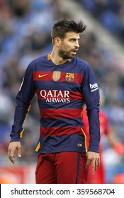 BARCELONA - JAN, 2: Gerard Pique of FC Barcelona during a Spanish League match against RCD Espanyol at the Power8 stadium on January 2, 2016 in Barcelona, Spain