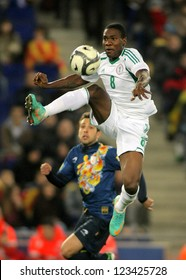 BARCELONA - JAN, 2: Nigerian player Brown Ideye in action during the friendly match between Catalonia and Nigeria at Estadi Cornella on January 2, 2013 in Barcelona, Spain