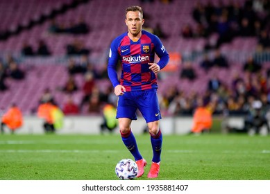 BARCELONA - JAN 30: Arthur Melo plays at the Spanish Copa del Rey match between FC Barcelona and CD Leganes at the Camp Nou Stadium on January 30, 2020 in Barcelona, Spain.
